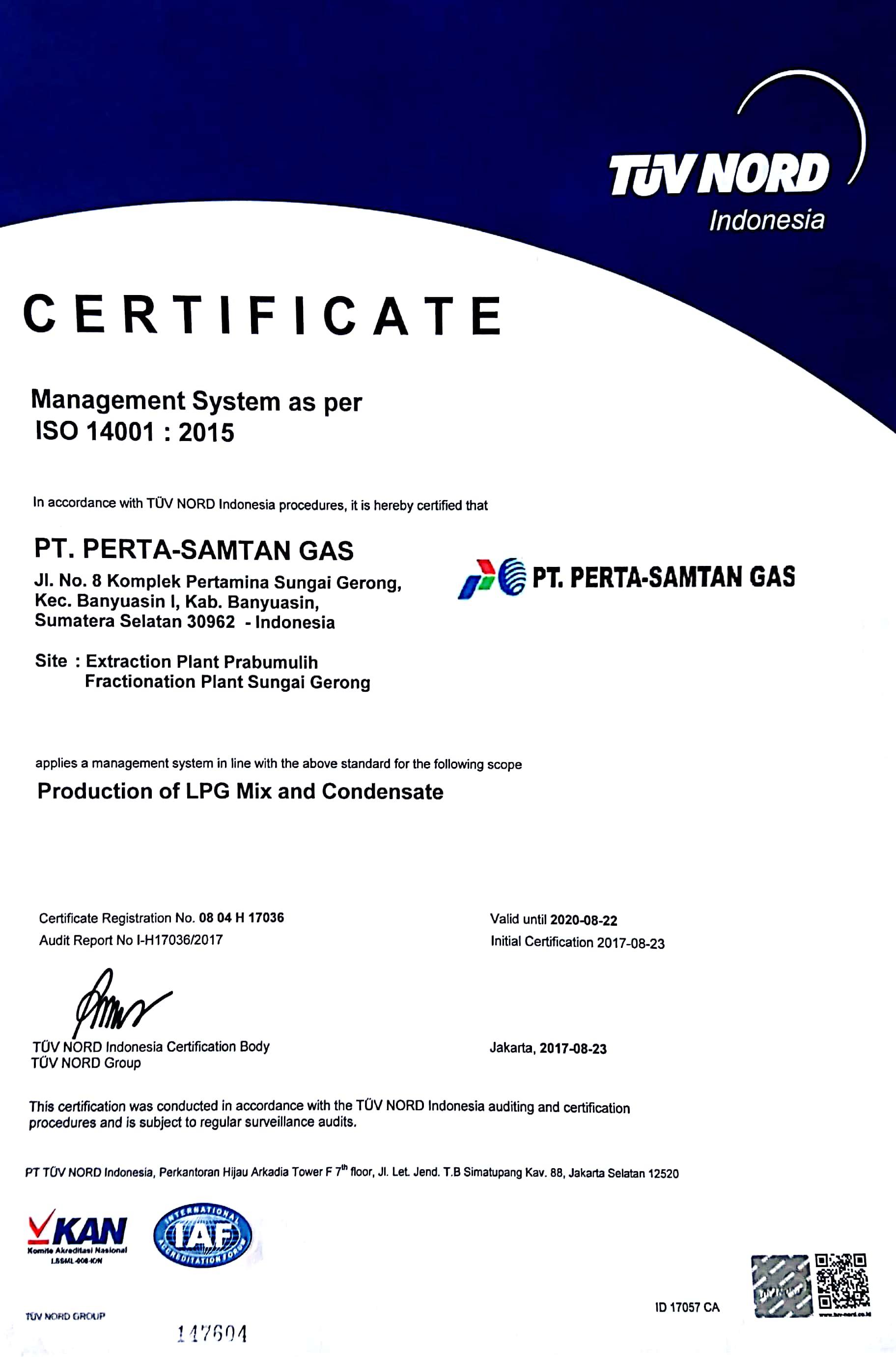 Pt Perta Samtan Gas Management System As Per Iso 140012015